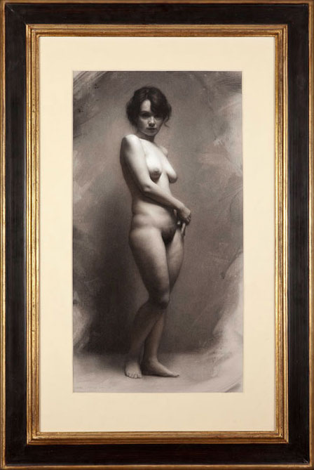Dorian Iten, Silence, charcoal and white chalk on toned paper, 2008