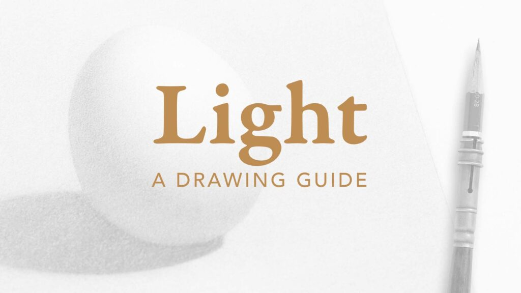 Cover of the Light Drawing Guide. Pencil and realistically rendered pencil drawing of an egg.